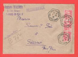 Recommandé Provisoire Cachet Hexagonal  STE CROIX EN PLAINE Haut Rhin 1946 Entête Auguste WAGNER Epicerie Mercerie - Marcophilie (Lettres)