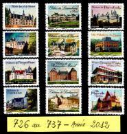 726 Au 737 De 2012  -  Adhésif Oblitéré  -  Châteaux Et Demeures Historiques (2) -  Série De 12 Timbres . Multicolore. - France