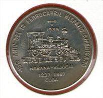CUBA / KUBA *** 1 Peso 1989 ***  Cu-Ni - KM# 275 - 30mm - 1er Ferrocarril Cubano - First Cuban Railroad - Cuba