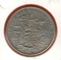 CUBA / KUBA *** 1 Peso 1990 ***  Cu-Ni - KM# 325 - 30mm - Columbus' Ships Sailing West / Colon - En Alta Mar Rumbo Oeste - Cuba