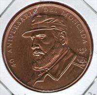 CUBA / KUBA *** 1 Peso 1993 ***  Cobre / Copper / Kupfer - BRO - KM# 397 - 37,9mm - Fidel Castro  - Attack On Moncada - Cuba