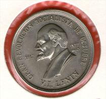 CUBA / KUBA *** 1 Peso 1977 ***  Cu-Ni - KM# 190 - 30mm - 60th Anniversary Of Socialist Revolution - LENIN - Cuba