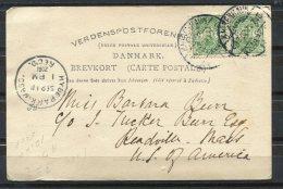 Denmark 1902 Picture Postal Card  To USA Pair - 1864-04 (Christian IX)