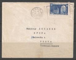 1949 25f Abbey St. Wandrille, Paris To Czechoslovakia (21 X 1949) - France