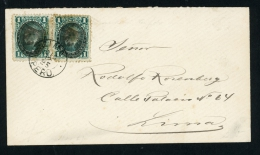 Peru 1895 STAMPS WITH INVERTED OVERPRINT On Local Cover From Lima (cover Lettre Brief) - Peru