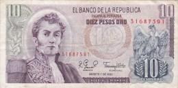 Colombie - Billet De 10 Pesos - Narino - 7 Août 1980 - Kolumbien
