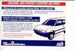 """Automobile - Carte Réponse """"Grand Jeu Radio RTL Centre Auto Distribution """" Gagnez Une AX Citroën - Cartes Postales"""