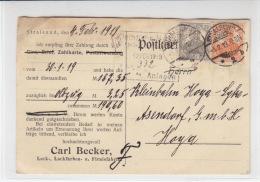 """Firmenkarte Aus Stralsund 5.2.19 Mit Lochung (Perfin) """"CB"""" - Briefe U. Dokumente"""