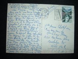 CP PAR AVION POUR USA TP GORGES DU TARN 0,75F OBL.MEC. 27-7-1965 PARIS VIII (75) - Poststempel (Briefe)