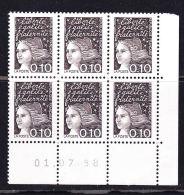 FRANCE N°3086 0.10 BISTRE NOIR MARIANNE DE LUQUET COIN DATE DU 01.07.1998 BLOC DE 6 NEUF SANS CHARNIERE - 1990-1999