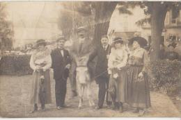 CPA PHOTO 92 LE PLESSIS ROBINSON Groupe Promenade Sur Ane Souvenir Du 13 Août 1913 Rare - Le Plessis Robinson