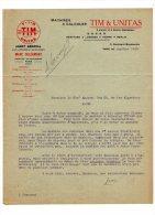 Entête  :  TIM & UNITAS  , Machines A Calculer  /Courrier + Facture  / Paris Pour Alger  1913, Voir Scans - France