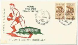 Italie 1960 812 Paire FDC - Jeux Olympiques Rome - Emblème Louve - Oblitération Palazzo Dello Sport - Boxe - F.D.C.