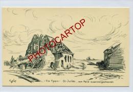 SINT-JULIAAN-St JULIEN-DESSIN-Carte Allemande-Guerre14-18-1WK-BELGIQUE-BELGIEN-Flandern- - Langemark-Poelkapelle