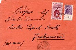 1958 STORIA POSTALE  EVANGELISTA TORRICELLI LIRE 25+ SIRACUSANA LIRE 25 DA CASSANO IRPINO A FONTANAROSA(AVELLINO)R305 - 1946-60: Storia Postale