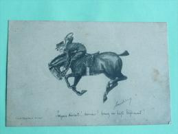 SAUMUR - Equitation, Illustration,CPA Expédiée Au Capitaine Du 6ème Dragon Après Une Reprise. - Saumur
