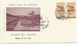Italie 1960 812 Paire FDC - Jeux Olympiques Rome - Emblème Louve - Oblitération Stadio Del Nuoto - F.D.C.