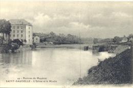 CPA ENVIRONS DE MAYENNE - SAINT BAUDELLE - L'ECLUSE ET LE MOULIN - France
