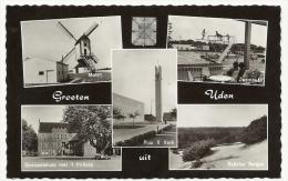 Groeten Uit UDEN - Noord-Brabant- Molen - Zwembad - Gemeentehuis Met 't Prilleke - Fotokaart - Uden
