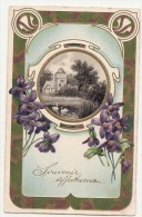 Souvenir Affectueux -  Dorure Relief Superbe - Art Nouveau  - Violettes   - Timbrée - Fêtes - Voeux