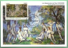 Carte Postale Maximum CM FdC France 2006 Aix En Provence  Obl 1er Jour Timbre Cézanne Baigneuse Impressionnisme Peinture - Paintings