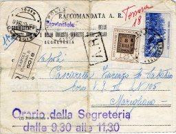 1960 RACCOMANDATA A.R. GUERRA DELL'INDIPENDENZA+CENTENARIO FRANCOBOLLO ROMAGNE DA MARIGLIANO(NAPOLI)--R310 - 1946-60: Storia Postale