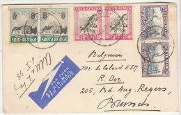 CP/avion  Kimberley (mines De Diamant) -> Belgique 1938 (2 Scans) - Afrique Du Sud (...-1961)