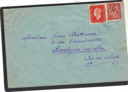 Lettre Yvert  685 Marianne Dulac + 652 Iris Expéditeur Lingevres Calvados - France