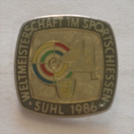 Badge / Pin (Shooting Weapons) - Germany (Deutschland) Suhl World Championship 1986 - Badges