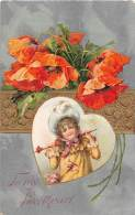 4853 Valentine Young Girl Inside A Heart , Orange Flowers - Valentine's Day