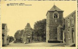 Saint - Georges  S/ Meuse -- L'Eglise  Et  La  Maison  Communale.   (2 Scans) - Saint-Georges-sur-Meuse