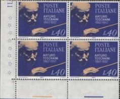 Italia Italy 1967 100 Anniversario Della Nascita Di Arturo Toscanini  In Quartina Nuova Illinguellata ** MNH - 6. 1946-.. Repubblica
