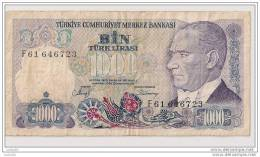1000 Lirasi 1970 - N° F61 646723 - Turquie - - Turquie