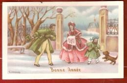 MIGNONETTE 6x12. Illust. L. GOUGEON  . Couple Et Fillette En Tenue XIX °s. BONNE ANNEE - Old Paper