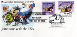 Bi-Centenaire Australie. Emission Commune D´un FDC Avec USA. Oblit. PJ Sydney & Washington