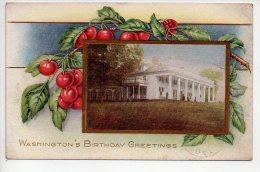 REF 154  : CPA U.S.A. Washingon's Birthday Greetings Carte Gauffrée - Washington DC