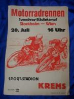 """Speedway - Plakat  """" Städtekampf Stockholm - Wien """" In Krems/Donau ( 70´er Jahre ) - Sport"""