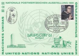 BRD 1049 Auf Sonderkarte NAPOSTA ´81, Mit Sonderstempel: Stuttgart Tag Der UNO - 20. Todesj. Dag Hammarskjöld 30.4.1981 - Machine Stamps (ATM)