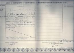 NORD PAS DE CALAIS - 62 - PAS DE CALAIS BONNIERES  - Jules CARPENTIER -  - Chambre Des Huissiers - Stage De Clercs - Diplomi E Pagelle
