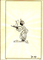 Tusche - Zeichnung Von Helli Zotter Auf Butterpapier - Schwarzer Moor Mit Wasserkrug - Zeichnungen