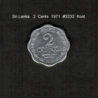 SRI LANKA    2  CENTS  1971  (KM # 138) - Sri Lanka