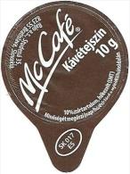 McDONALD´S FAST FOOD RESTAURANT McCAFE COFFEE CREAM SUGAR PRINTED IN SLOVAKIA MILK TOP MILK LID Mc Tejszin 2012 Hungary - Milchdeckel - Kaffeerahmdeckel