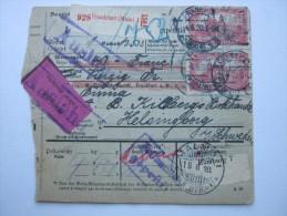 1920, Paketkarte Aus Frankfurt Nach Schweden, Wertpaket - Briefe U. Dokumente