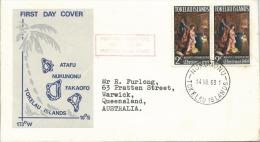 1969 FDC Xmas Issue  2 X 2 Cent  14 Nov 1969  Official FDC Red Boxed First Outgoing Mail Since Issue Of Xmas Stamp - Tokelau