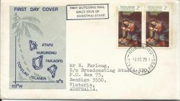 1970 FDC Xmas Issue  2 X 2 Cent  16 Nov 1970  Official FDC Black Boxed First Outgoing Mail Since Issue Of Xmas Stamp - Tokelau