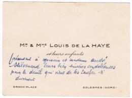 Mr & Mme LOUIS DE LA HAYE ET LEURS ENFANTS GRAND'PLACE SOLESMES NORD - Cartes De Visite