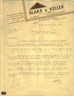 PARIS - MACHINES POUR L'IMPRIMERIE , LA BROCHURE ET LE CARTONNAGE - BLAKE & KELLER - LETTRE - 1954 - Imprimerie & Papeterie