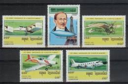 Mua377 TRANSPORT VLIEGTUIGEN Alberto Santos-Dumont EIFFELTOWER PLANES FLUGZEUG STAMPS CAMBODJA CAMBODGE 1993 PF/MNH - Vliegtuigen