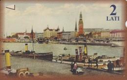 Latvia, M-009, 2 Ls, River,  2 Scans. - Latvia