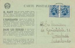 ESPERANTO - BELGIUM - Carte De Propagande QUIEVRAIN 1934 Vers ENSCHEDE NL  -- C1/791 - Esperanto